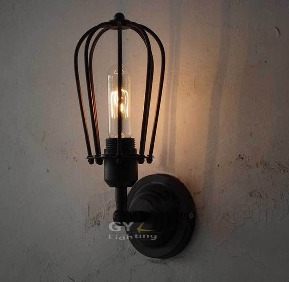 AC100-240V-Black-Edison-Vintage-Metal-Cage-Wall-Lights-shaddock-pattern-Wall-Sconce-RH-Loft ...