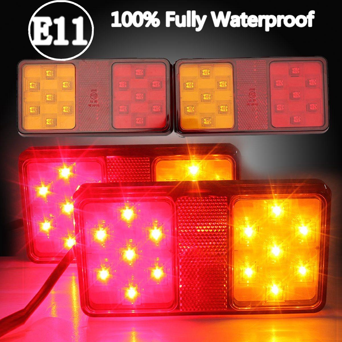 Audew 2 x 12V LED Rear Trailer Truck Tail Brake Stop Indicator Turn Signal Light Indicator Lamp(China (Mainland))