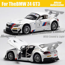 1:32 Scale Diecast Alloy Metal Racing Car Model For TheBMW Z4 GT3 Collection Model Pull Back Toys Car With Sound&Light - White(China (Mainland))