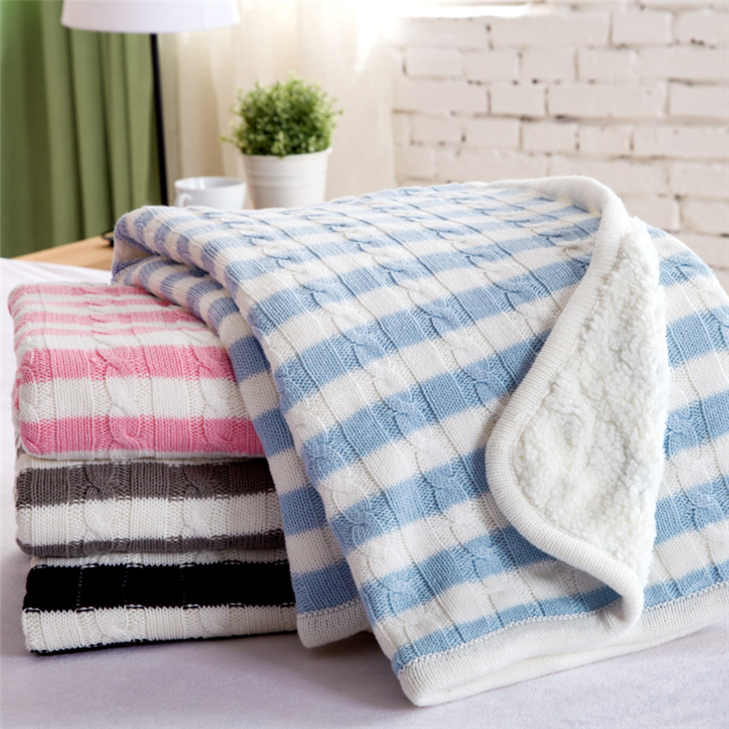 Home textile knitted Blanket AB side pink gray cotton blanket for Adult children stripe plaid throw on Sofa/Bed/Plane 150*200cm(China (Mainland))