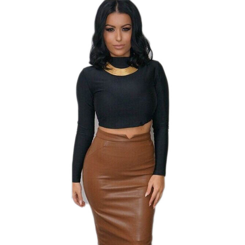 sexy women 2015 women's sets skirt and top 2 piecees women sets shorts set Black Brown crop top and skirt set PU Leather(China (Mainland))