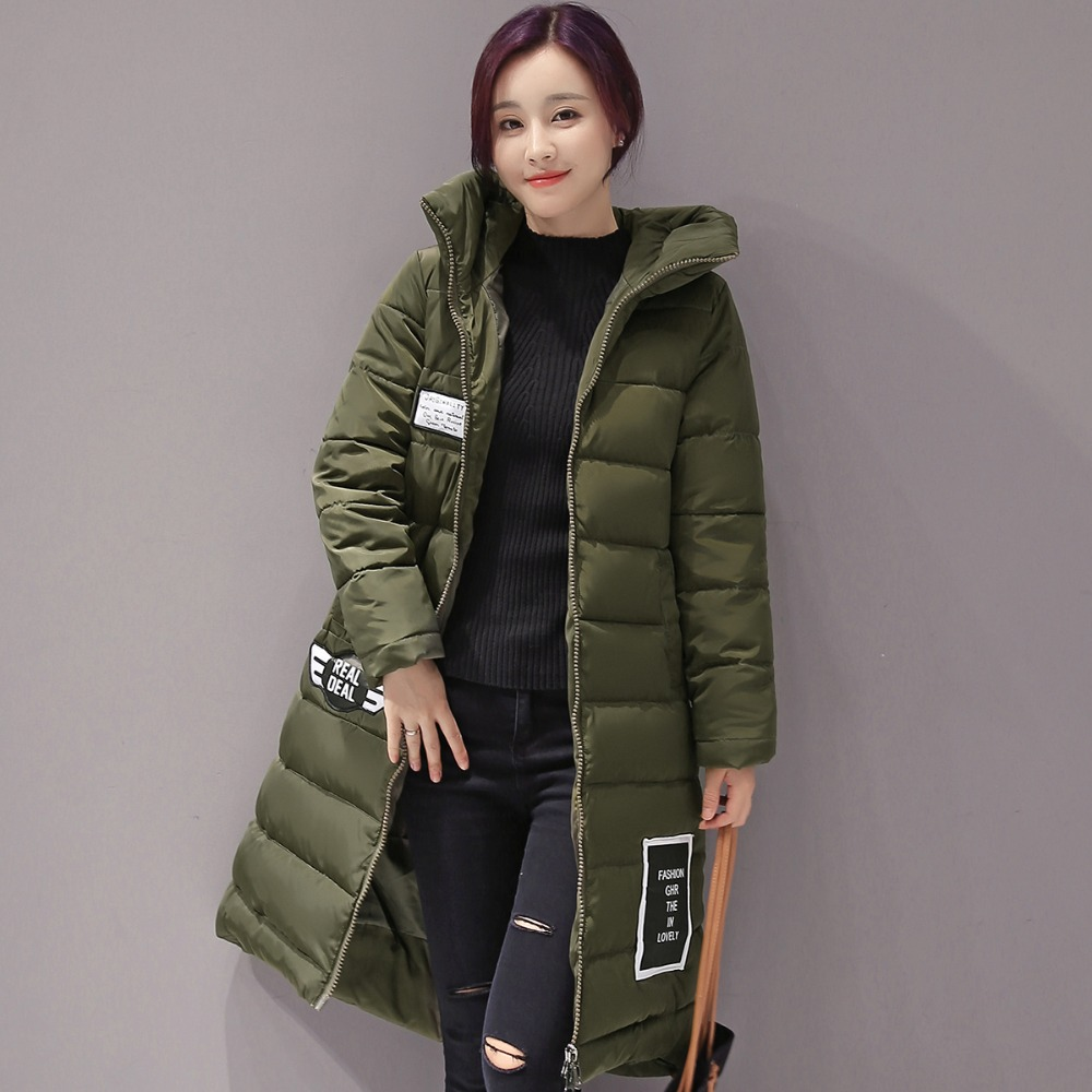 Women Winter Coats With Magic Hoody Fashion Thick warm Mid-long Jacket Slim Fit Zipper Quilted Outfits Parkas(China (Mainland))