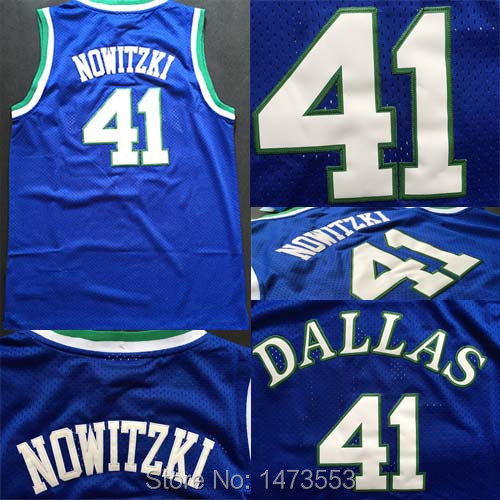 Гаджет  Dallas #41 Dirk Nowitzki Jersey Throwback, All Stitched Blue Dirk Nowitzki Retro Basketball Jerseys S-XXL None Спорт и развлечения