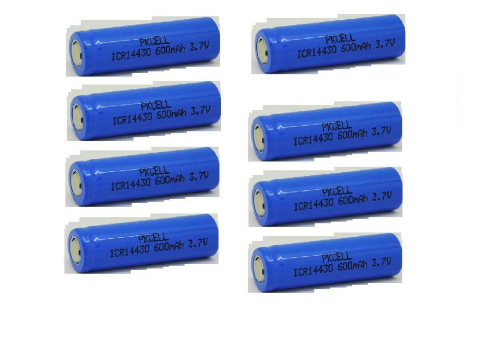 8PCS 600mah 3.7v Li-Ion battery 14430 rechargeable lithium battery icr14430(China (Mainland))