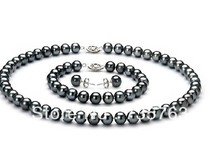 xiuli 0011 a sets of tahitian 9-10mm black pearl necklace earring and bracelet 14KGP gold(China (Mainland))