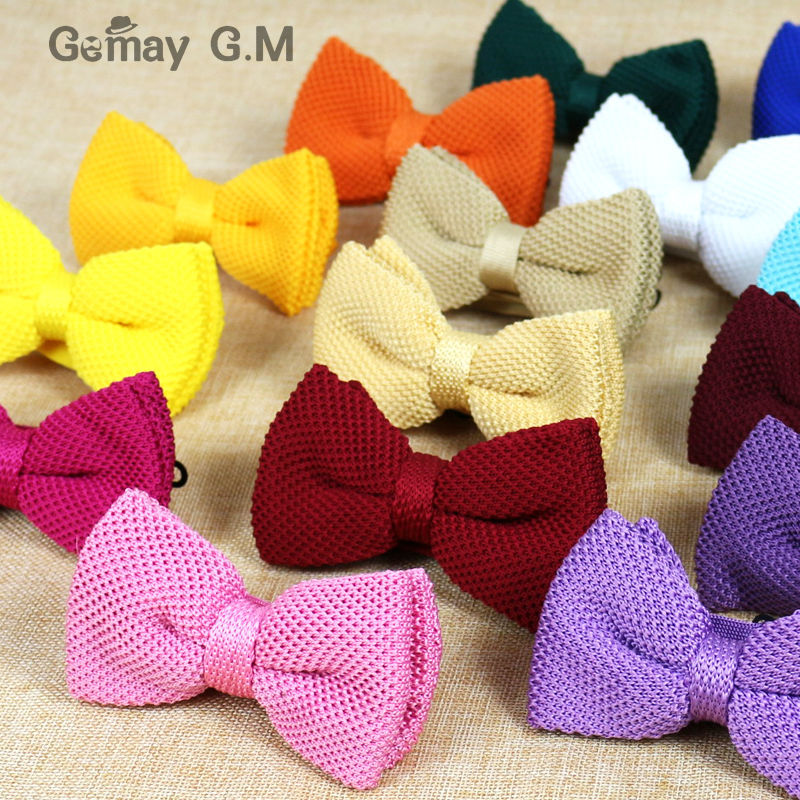 New Men Solid Knitted Bowtie Bow Tie for Mens Pre-Tied Adjustable Knit Bowtie 20 colors Free shipping(China (Mainland))