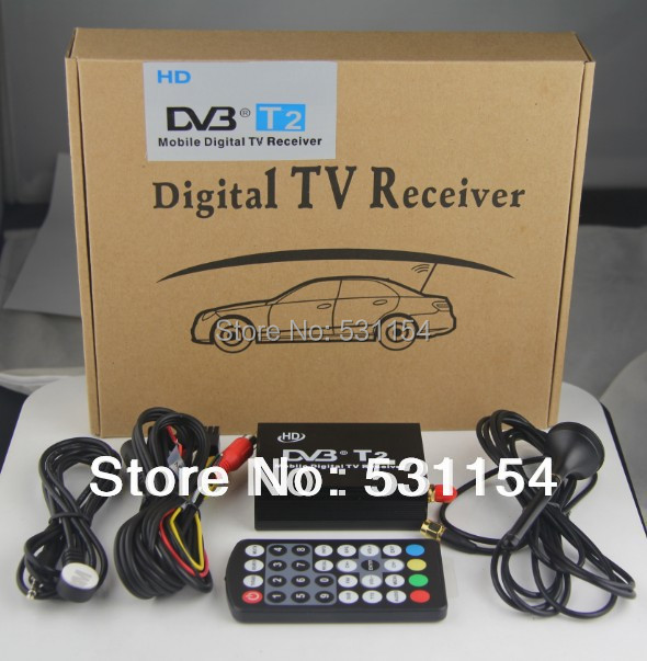 Mobile Digital Car DVB-T2 H.264 MPEG4 HD 1080P External Auto Tuner 100Km/h Digital TV Receiver Box Set Top DVB-T2 Free Shipping()