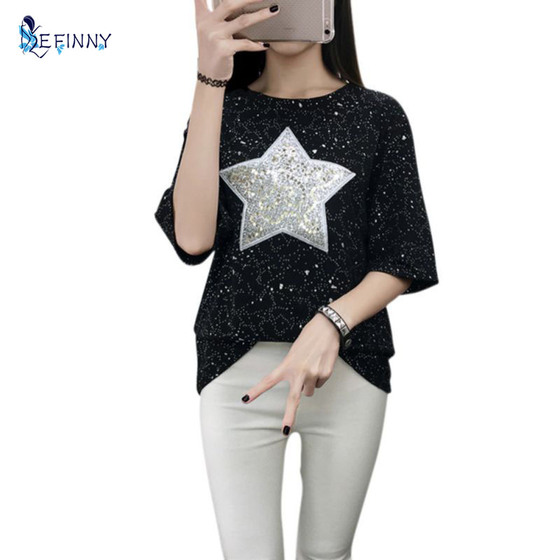 Summer Ladies T-Shirt Fashion Sequined Shiny Star Patterns Short Sleeve Loose Tee Shirt Plus Size