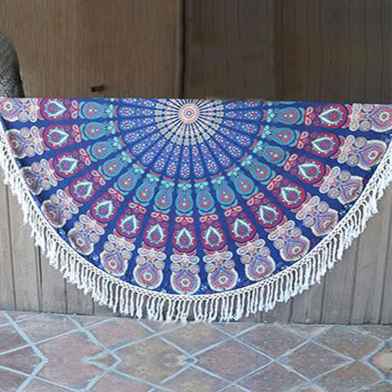 Women Scarf Pure Bliss Roundie Beach Summer Tribal Gym Camping Bath Pool Versatile Cover Ups Print Tassel Round Blankets Towels(China (Mainland))