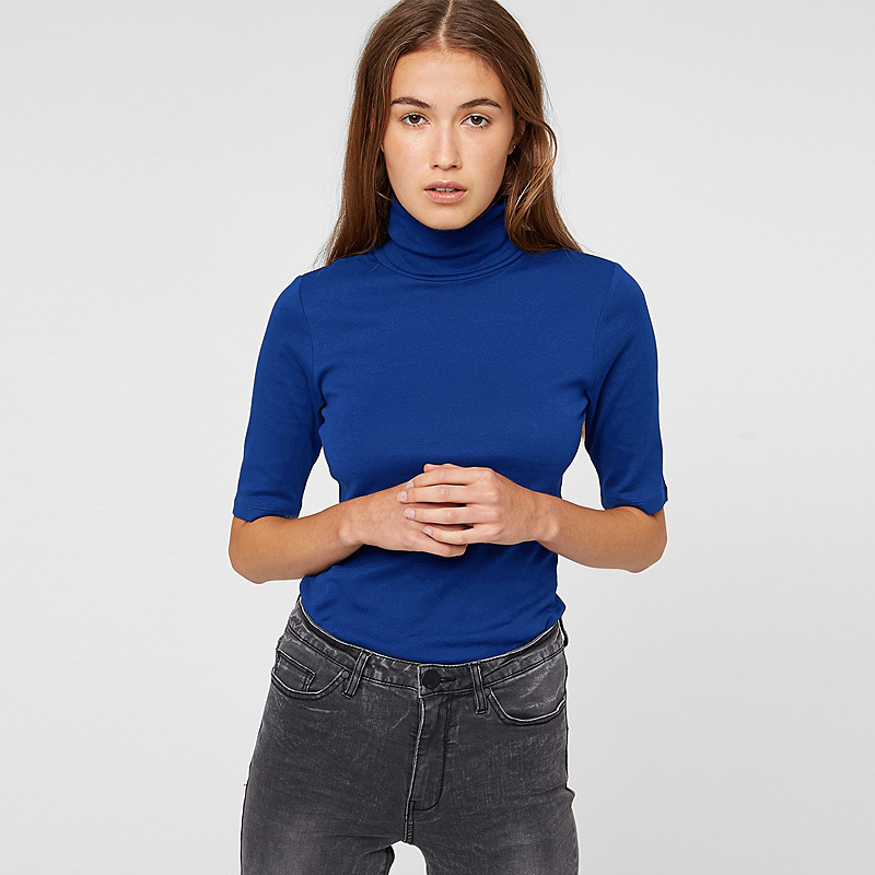 Slim Lady Basic Women T Shirt Turtleneck Half Sleeve