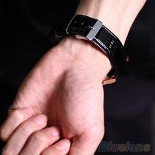 2014 Fashion Roman Dial Mens Elegant Leather Black Analog Quartz Sport Wrist Watch 1G7C