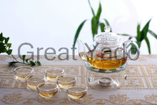 1 glass teapot 600ml+6 double wall tea cups +1 heating base 8pcs/set free shipping