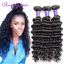 3 Bundles Deals Maxglam Hair Unprocessed 7A Brazilian Deep Curly Weaves Brazilian Deep Wave Virgin Hair Natural Black Curly Deep