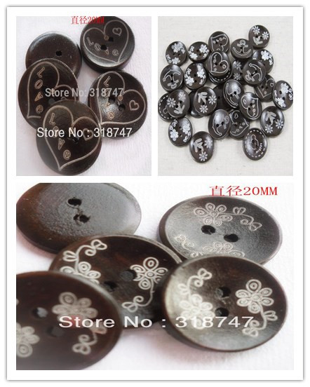 24pcs 20mm Multi type optios Circular Laser Marking Wood Buttons Sewing Button DIY Clothing Accessories 13012012(20D24)(China (Mainland))