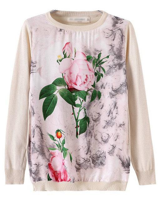 02F409 новинка женская элегантный цветочный узор лоскутная пуловер свитер свободного ...