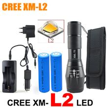 6000 lumens cree xml L2 high power adjustable led flashlight +DC/Car Charger+2*18650 battery+Holster Holder(China (Mainland))