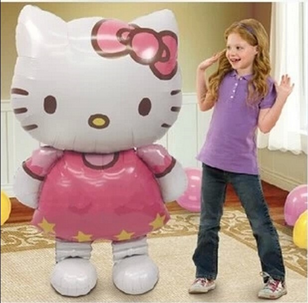 1pcs big Hello Kitty Cat inflatable cartoon foil balloons birthday party decoration kids gifts balls Classic toys Air balls(China (Mainland))