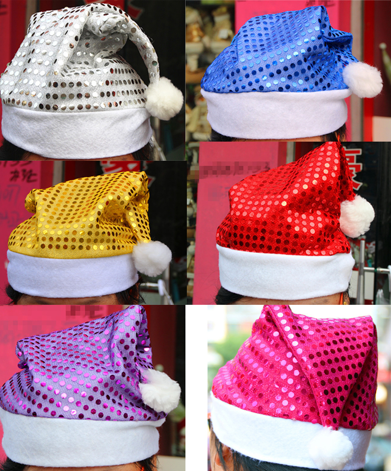Merry Christmas decoration gifts adults and kids Shiny sequins New Year caps wholesale show 6 color colorful boutique Party hats<br><br>Aliexpress