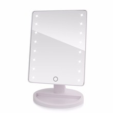 360 Degree Rotation Touch Screen Make Up Mirror Cosmetic Folding Portable Compact Pocket With LED Lights Makeup Tool(China (Mainland))