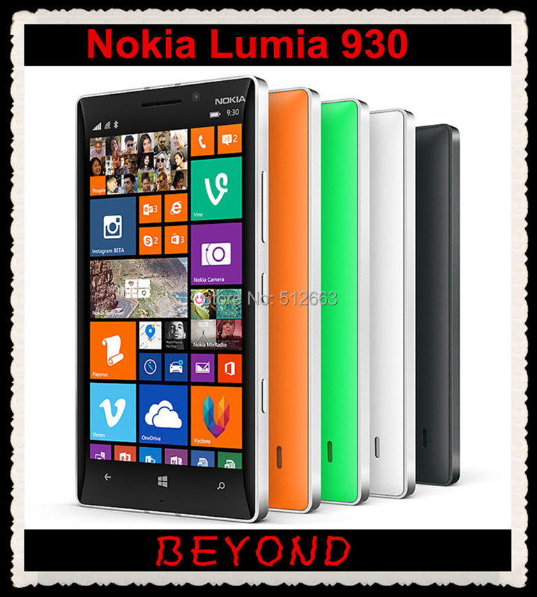 Nokia Lumia 930 Original Unlocked Windows Mobile Phone 8.1 GSM 3G&4G 5.0'' 20MP WIFI GPS 32GB internal Storage Dropshipping(China (Mainland))