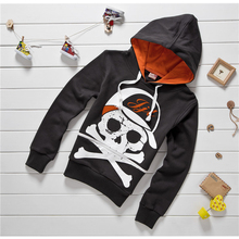 2015 Autumn and Winter Boys Fashion Hoodies Skull Print Pullover Hoodies Kids Long Sleeve Hooded Sweatshirts   A0961(China (Mainland))