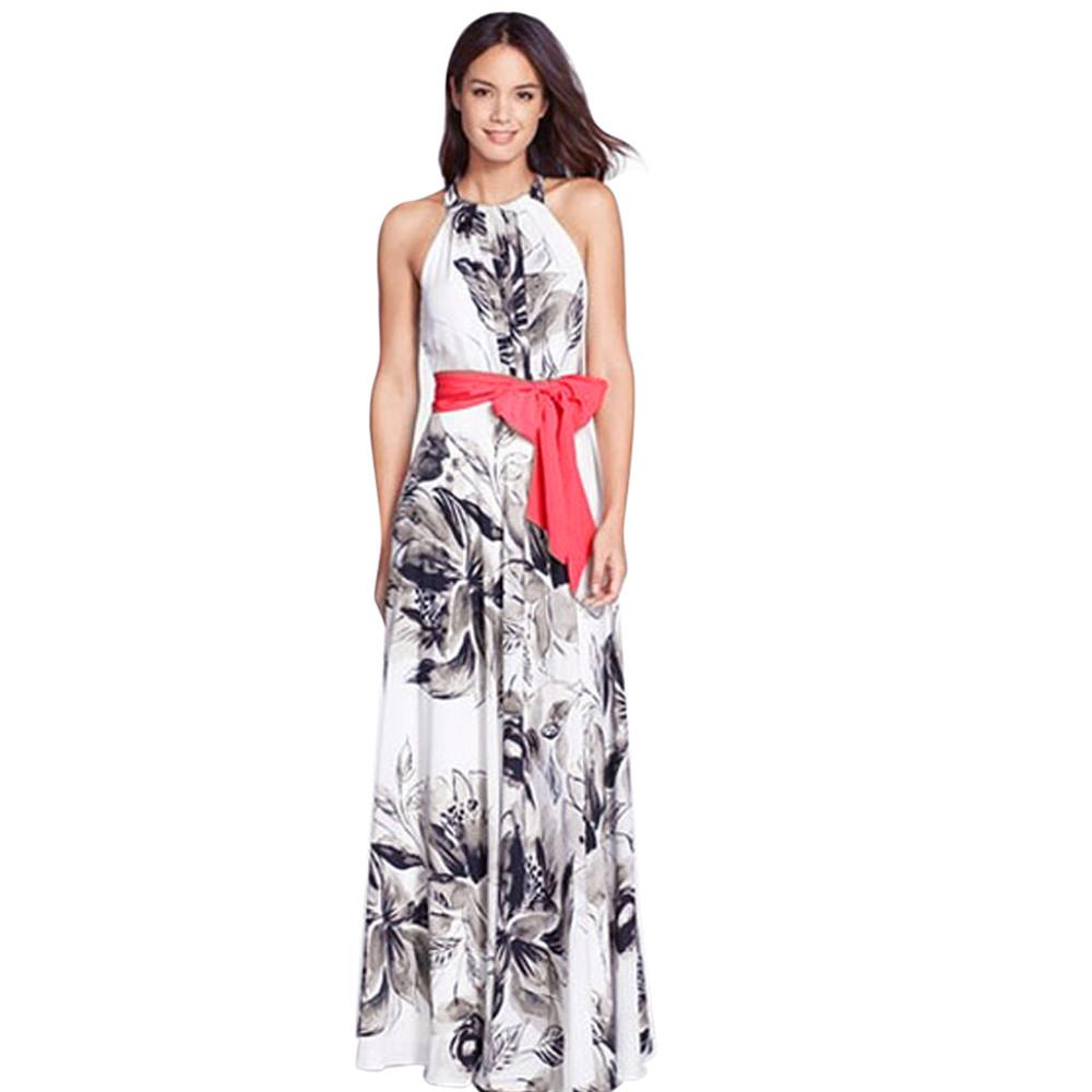 2016 Elegent Women Boho Long Maxi Dress Evening Party Dress Chiffon Print women dress Casual Loose Long Dresses Robe Femme(China (Mainland))