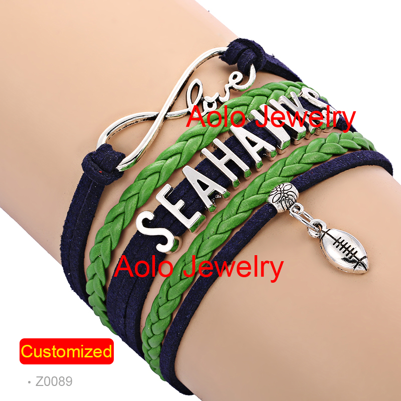 Free Shipping SEATTLE FOOTBALL Infinity Bracelet NAVY/GREEN Make Your Own Design 6Pcs/Lot #102(China (Mainland))