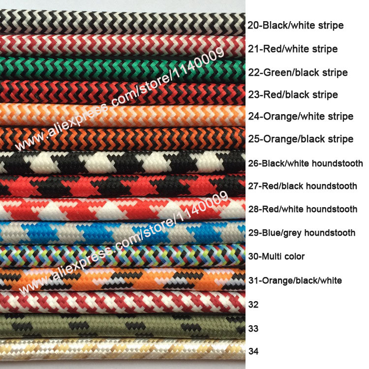 DHL Shipping 100m/lot VDE 2x 0.75mm2 Colorful Braided Wire Fabric Wire Textile Wire Braided Power Cord Vintage Electrical Wire(China (Mainland))
