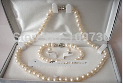Jewelry 00910 ROUND 9-10mm White Pearl Necklace 3pc SET Cultured Freshwater<br><br>Aliexpress