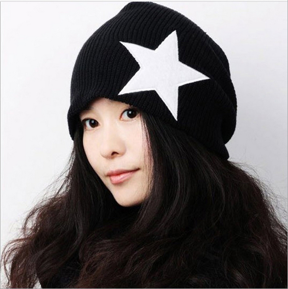 2014New Arrive fashion casual togue cap star pattern women's caps men's hats female/male beanies free shipping HAT218(China (Mainland))