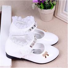 2015 female child black leather performance shoes female child white leather princess single shoes(China (Mainland))