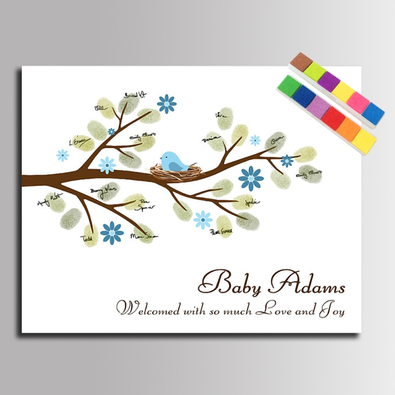DIY Fingerprint Signature Tree Canvas Painting Baby Birds for Baby Shower Guest Book Unique Gift (Include 12Ink Colors)(China (Mainland))
