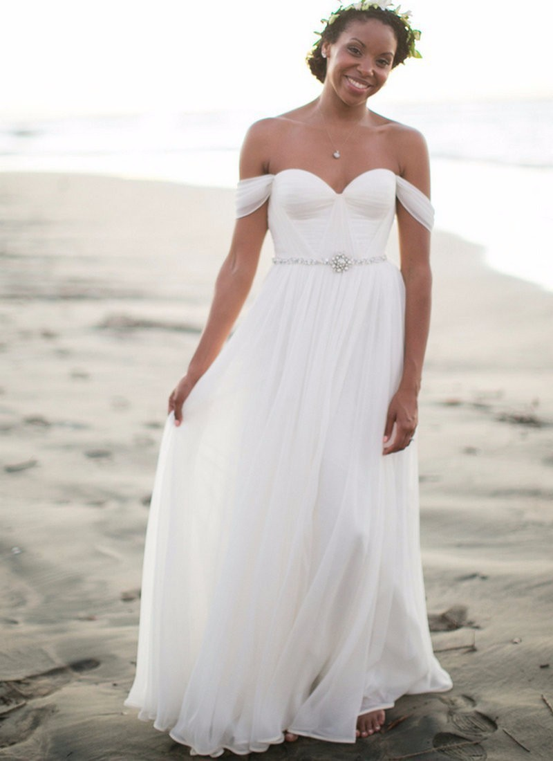 Hot Sale 2016 Chiffon Beach Wedding Dresses Elegant Off Shoulder Beaded Boho White Dress Bohemian Bridal Gowns(China (Mainland))