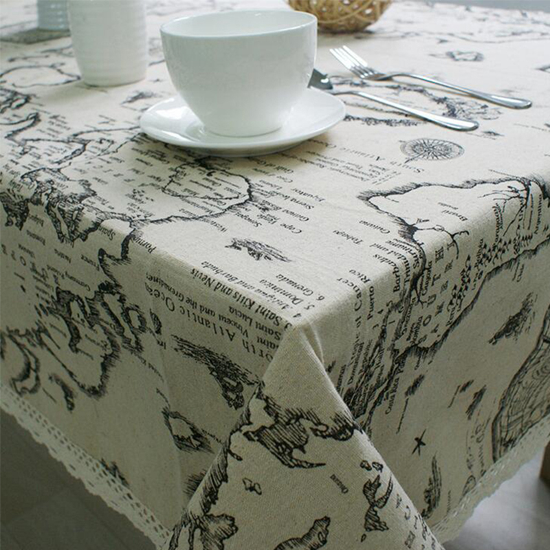 Hot cotton & linen letter printed gray tablecloth lace edge rectangular tablecloth dustproof home table cover high quality(China (Mainland))