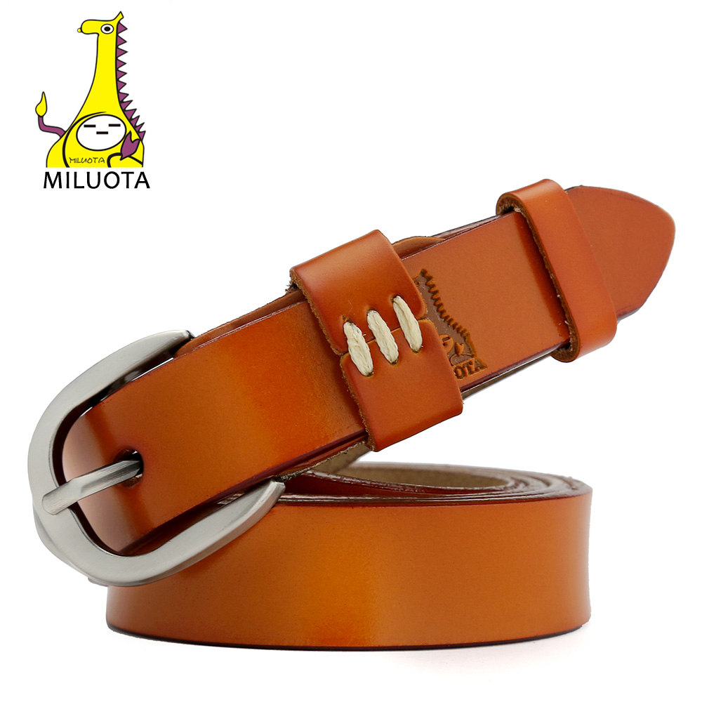 [MILUOTA] 2016 Genuine Leather Thin Belts For Women Dress Vintage Style Strap Candy Color Woman Belt MU030(China (Mainland))
