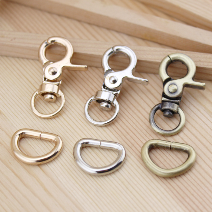 Zinc Alloy bronze, silver,gold Bag Parts & Accessories Luggage bag buckle Tongs / Snap hook spring Clasp D ring 10 mm 30set/lot(China (Mainland))