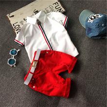 Hot sale 2016 Summer style Children clothing sets Baby boys girls t shirts+shorts pants+belt 3pcs sports suit kids clothes TP048(China (Mainland))