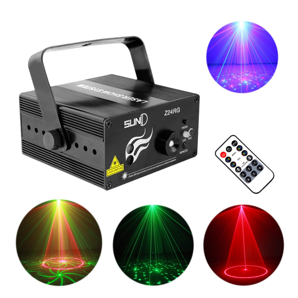Mini IR Remote 24 Patterns RG Red Green Laser Crossover Effect Projector 3W Blue LED Light Mixing Effect DJ Stage Lighting Z24RG(China (Mainland))