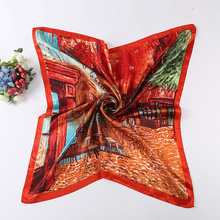 2016 New Fashion Women Square Silk Scarf Shawl Autumn Luxury Brand Design Satin Silk Scarf Painting Scarves 90*90cm Hot Sale(China (Mainland))