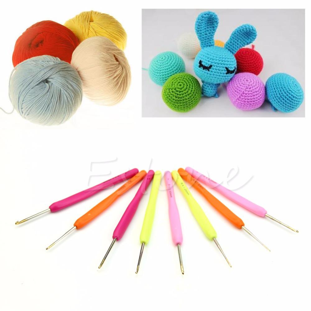 Free Shipping 8PCs DIY Crafts Fine Aluminum Knitting Needles Hook Crochet Kit Loom Tool Band(China (Mainland))