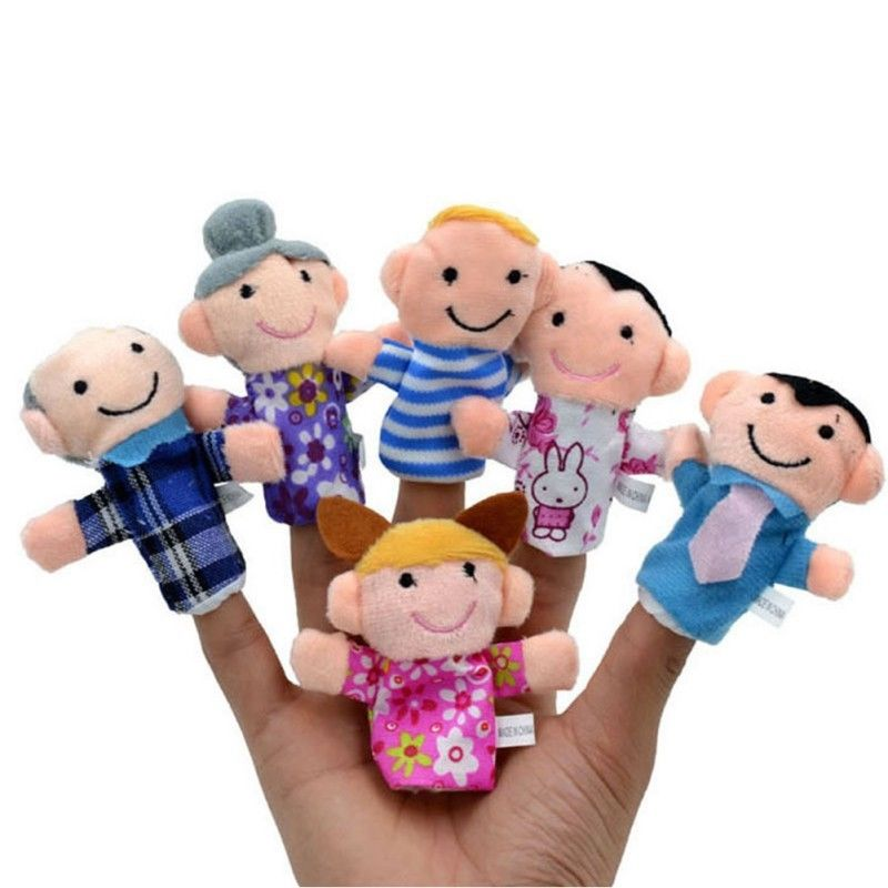 6 Pcs Family Finger Puppets Cloth Doll Baby Kids Finger Plush Dolls Play Game Educational Tool Hand Learn Toys Party Bag Filler(China (Mainland))