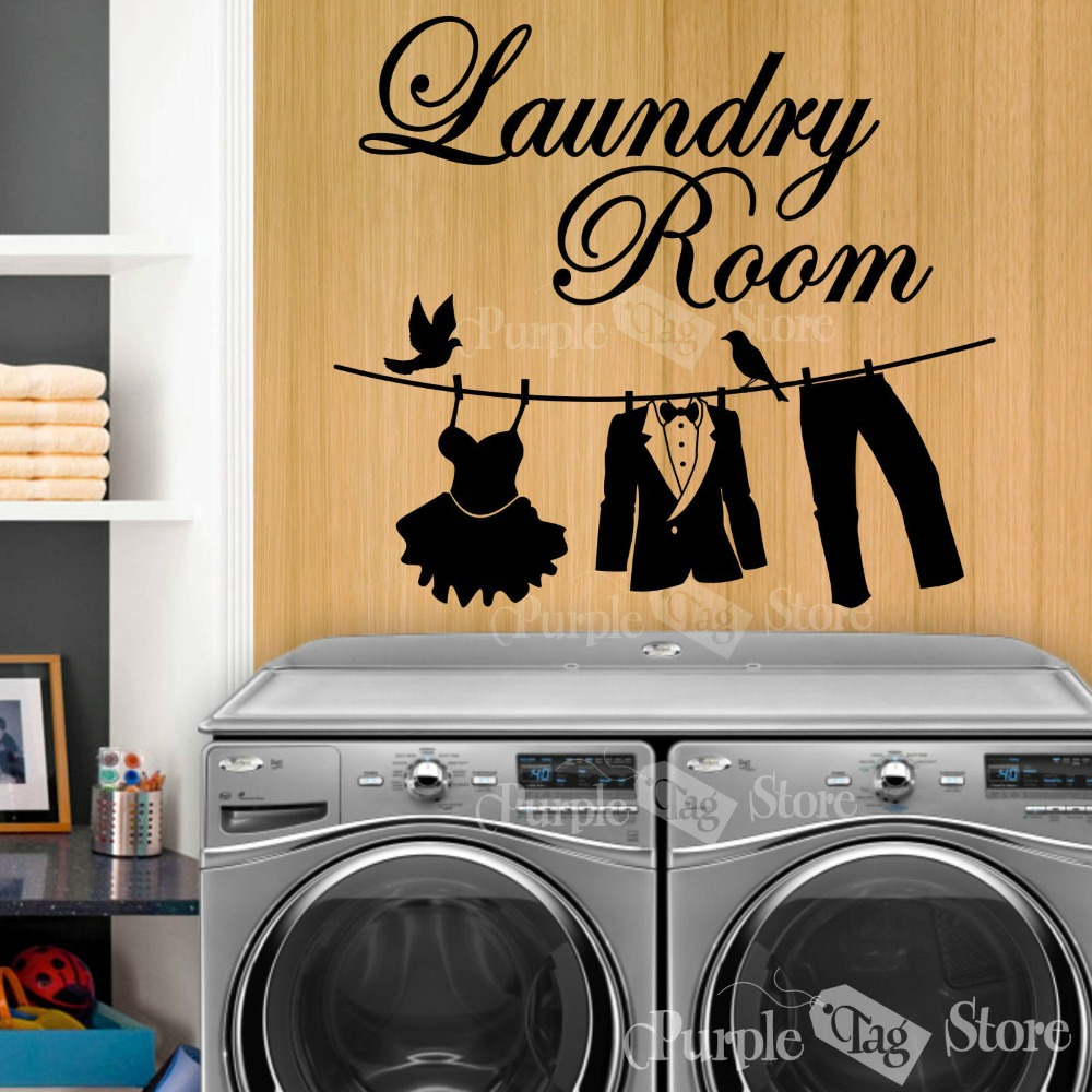 New 2015 Laundry Vinyl Wall Decal Laundry Room Clothesline ...
