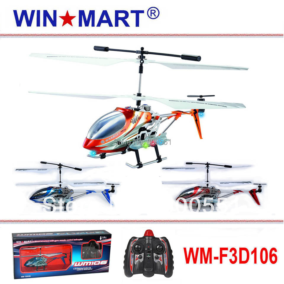 3ch metal gyro rc helicopter, best birthday gift for boys hot selling Christmas gift! WM-F3D106 high quality mini r/c helicopter(China (Mainland))