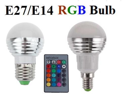 Гаджет  3W RGB E27 16 Colors LED Light Bulb Lamp Spotlight 85-265V + IR Remote Control free shipping None Свет и освещение