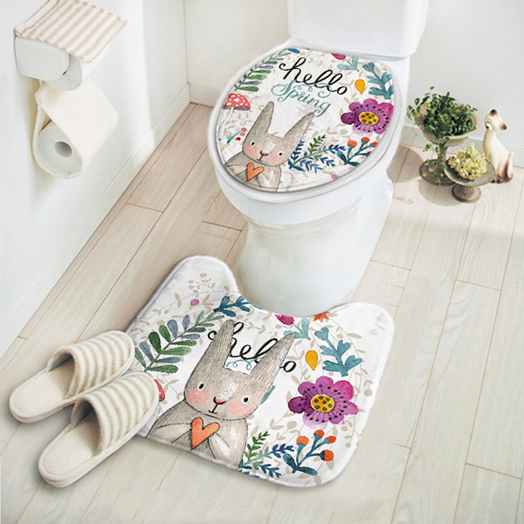 2pcs/set New Cut Cartoon Rabbit Animal Pattern Bathroom Set Carpet Absorbent Non-Slip Pedestal Rug Lid Toilet Cover Bath Mat(China (Mainland))