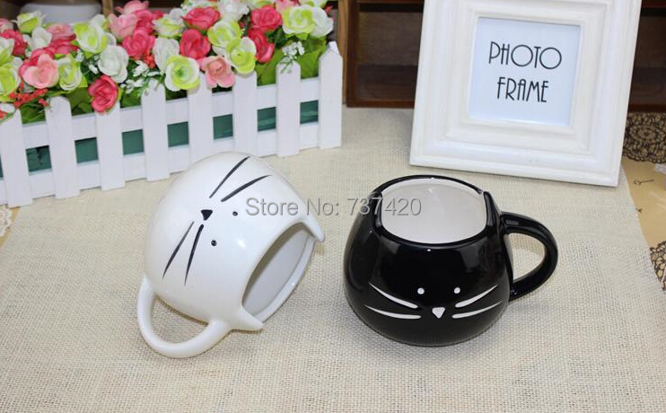 2pcs\lot New Zakka Lotion drink set Coffee Cup Mugs Black White Cat Animal Milk Ceramic Lovers Drinkware Mug Cute Creative Gifts(China (Mainland))