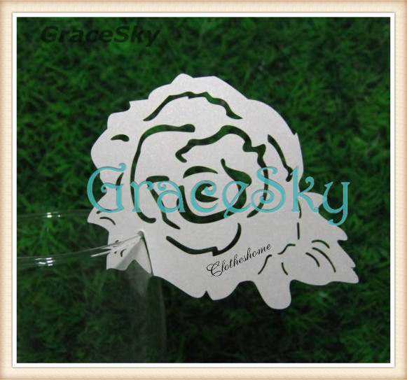 60PCS Laser Cut Name Place Card Cup Paper Card Table Mark Wine Glass Wedding Valentine Party Decoration Rose Shape Paper Craft(China (Mainland))