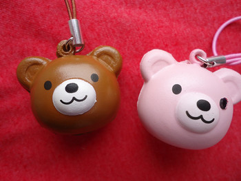 20pcs brown and pink bear head squishy
