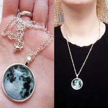 galaxy art picture glass cabochon necklace moon pendant antique silver Statement Necklaces Pendants Fashion Jewelry