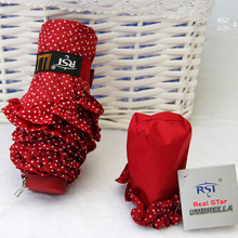 2015 RST Brand Umbrellas Polka Dot Lace Umbrella Rain Women Five Folding Parasol Gift Paraguas Ultra Light And Small Umbrella()